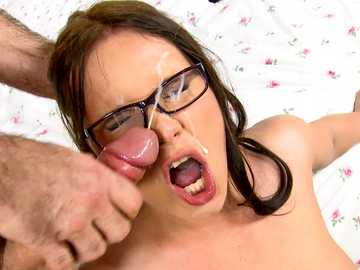 Brunette slut with glasses Wendy Moon gets fucked and facialized