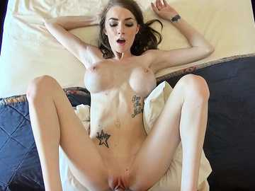 Ginormous boner enters the warm vaginal kingdom of busty brunette Kaitlyn Shanelle