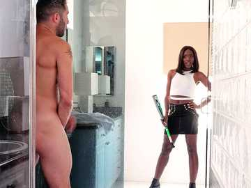 Ana Foxxx gets her hot athletic body working out in interracial sex video
