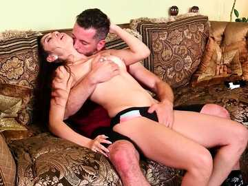 Young small-titted brunette Judy Jolie kisses passionately with the dude and sucks his doniker