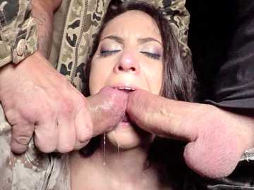 Small-breasted brunette Carolina Abril gets her mouth fucked by two members
