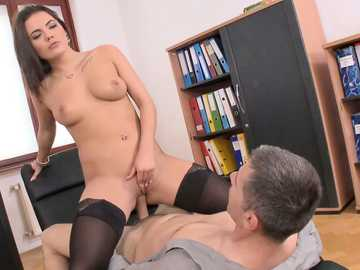 Busty lady Vanessa Decker rushes into the office and rides the guy's dong