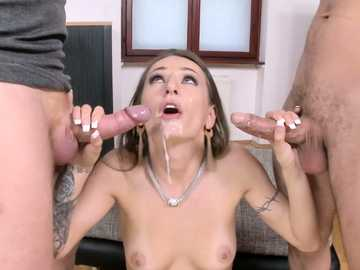 Dark-haired seductress Natasha Starr uses her off-work hours to have double penetration