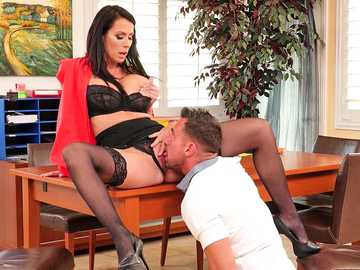 Reagan Foxx is the brunette boss to give pussy licking to or get fired