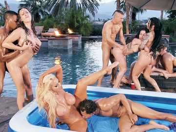 Aaliyah Hadid, Ashley Adams, Bridgette B, Gina Valentina, Karma Rx, Katrina Jade, Kira Noir, Kissa Sins, Lela Star, Lena Paul and Nicolette Shea: Brazzers House 3 Episode 1