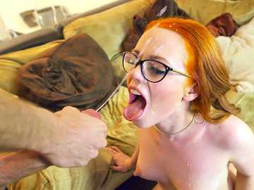 Ginger cumshot eater Ella Hughes catches Bane's insane cock