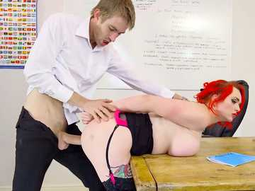 Big-breasted Dean Jasmine James has her wet pussy pounded by the new teacher Danny D in the classroom