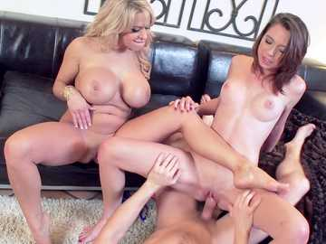 Alyssa Lynn and Cece Capella wait for their turn to fuck huge fire-hose