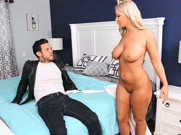 Lecherous blonde MILF London River impresses a younger guy with deepthroating