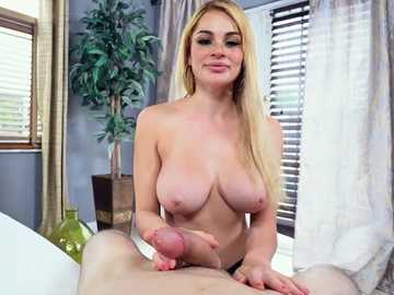 Busty girlfriend Skyla Novea gives her boyfriend a blowjob as a present