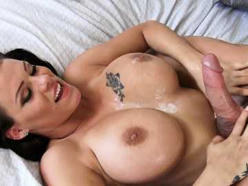 Voluptuous queen of fuck Peta Jensen gets her big tits greased with cum after adultery