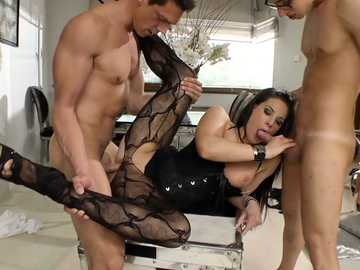 Brunette Hungarian Athina Love is fucked in threesome taking pussy to mouth