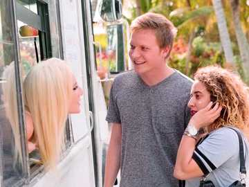 Jade Amber fucks doggy style in the ice cream wagon in her work fantasies